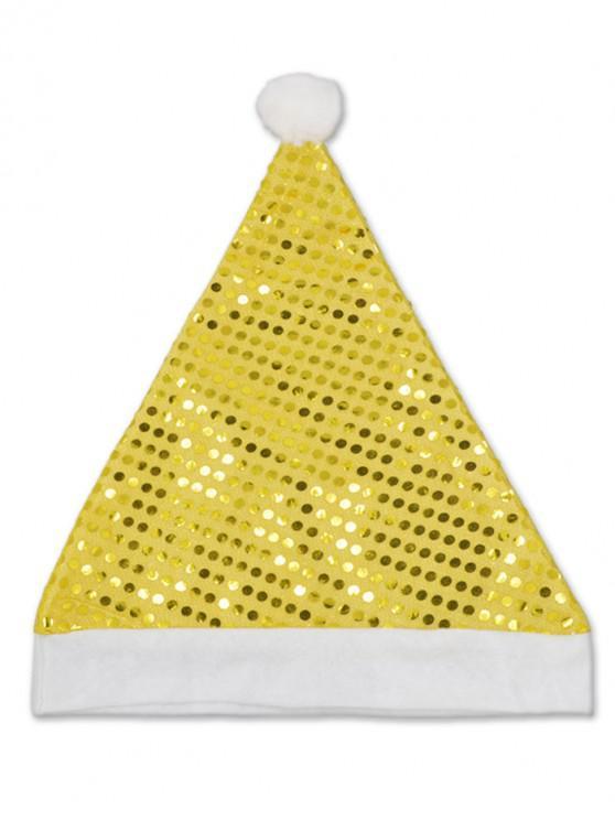Chapeau de Noël Brillant à Paillette - Jaune