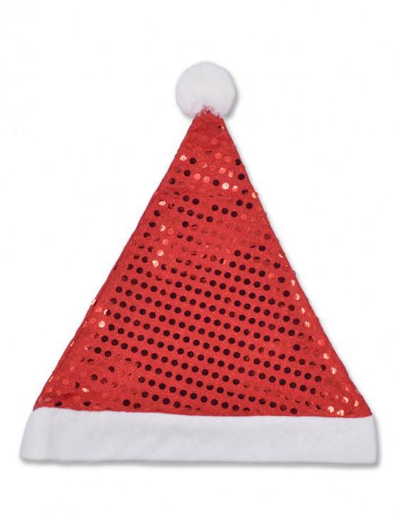 Chapeau de Noël Brillant à Paillette - Rouge Lave
