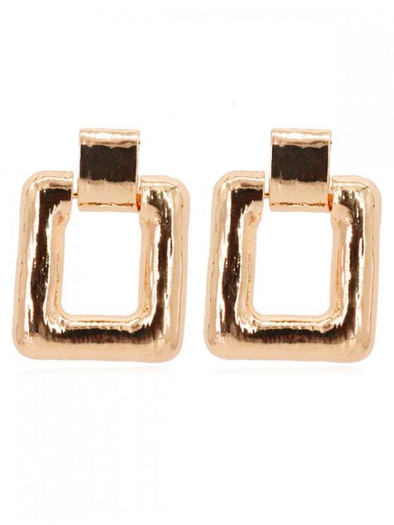 women Geometric Square Shape Metal Earrings - GOLD