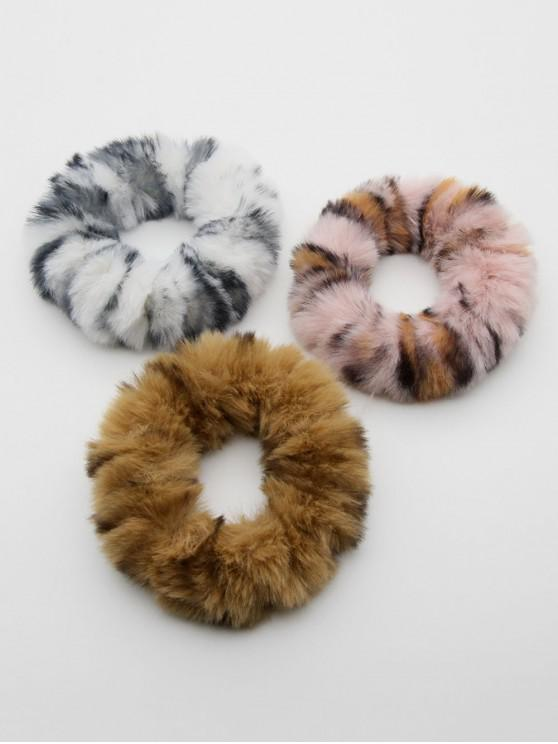 womens 3 Pcs Leopard Print Faux Fur Elastic Hairband - MULTI