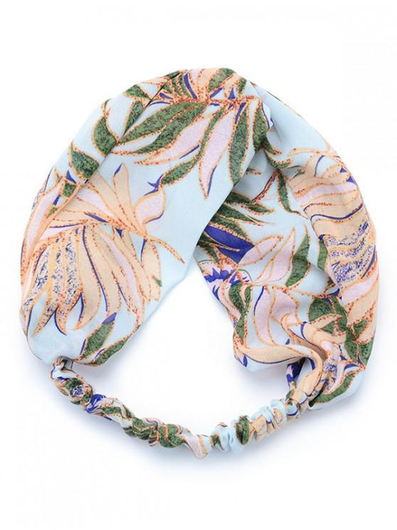 women Fresh Plant Printing Elastic Headband - LIGHT BLUE