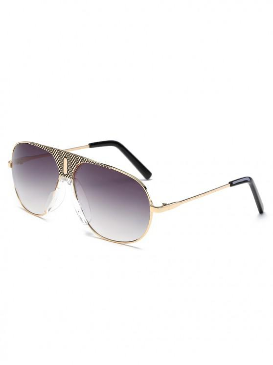 trendy UV Protection Metal Frame Shield Sunglasses - CARBON GRAY