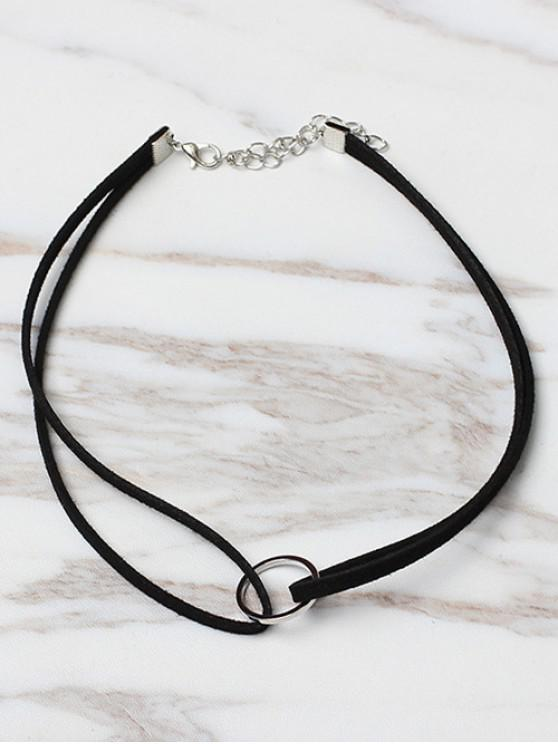 fancy Circle Shape Choker Necklace - BLACK