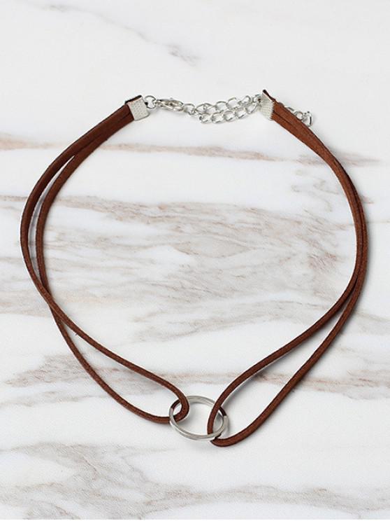 women Circle Shape Choker Necklace - DEEP COFFEE