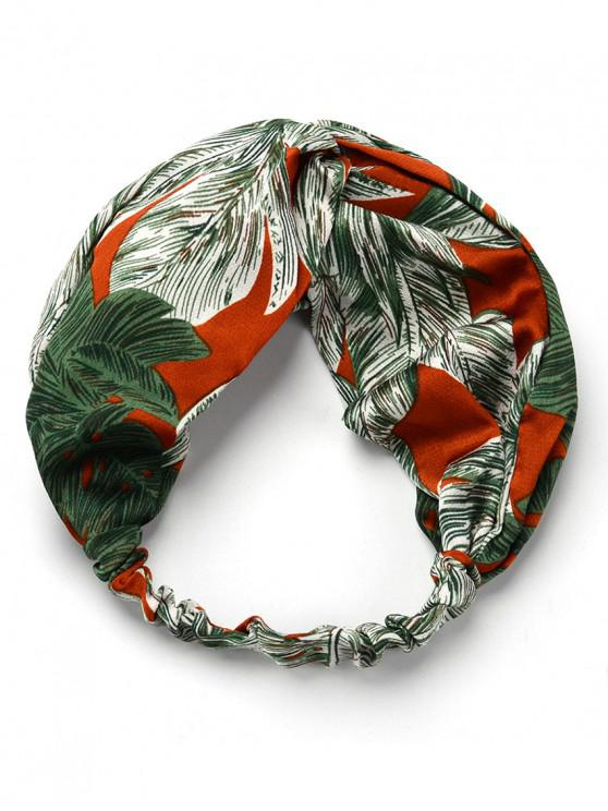 chic Vintage Feather Print Elastic Headband - DEEP GREEN