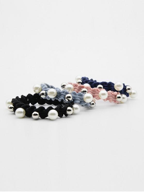 buy 4 Pcs Faux Pearl Elastic Hairband - MULTI