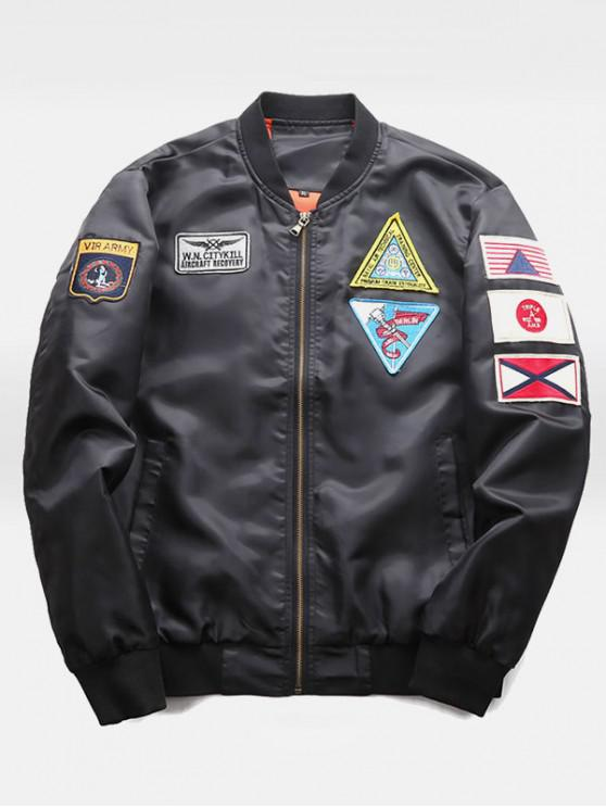 women Graphic Embroidery Appliques Bomber Jacket - BLACK XS