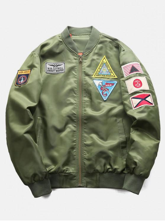 latest Graphic Embroidery Appliques Bomber Jacket - ARMY GREEN XS