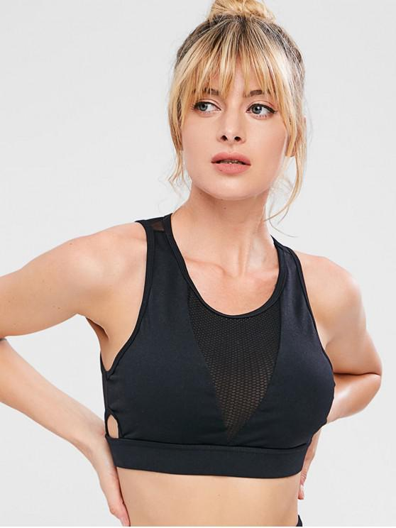 ZAFUL Cut Out Mesh Insert Gym Bra - Noir M
