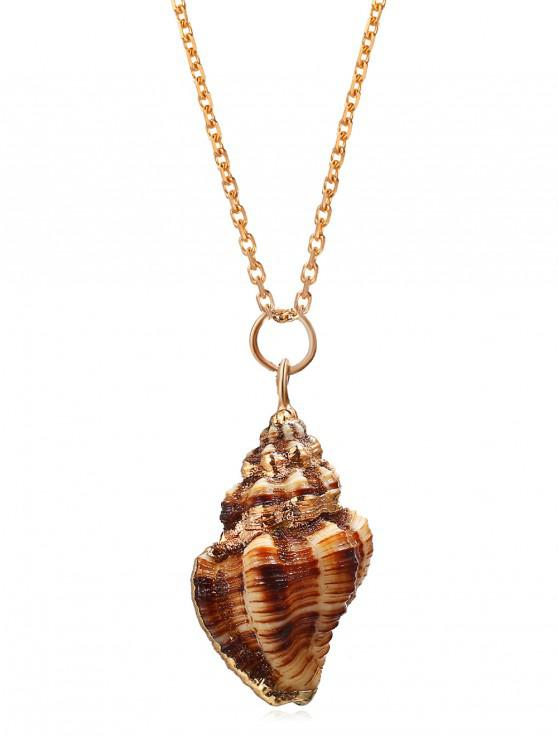 Conch Alloy Pendant Necklace - ذهب