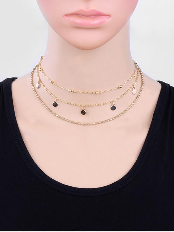best Layered Round Shape Beaded Metal Necklace - GOLD