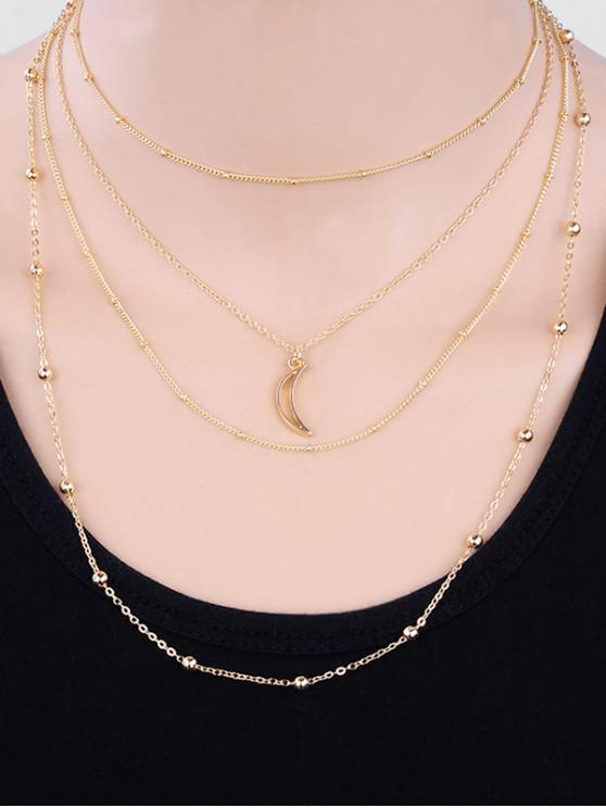shops Layered Beaded Moon Pattern Sweater Necklace - GOLD