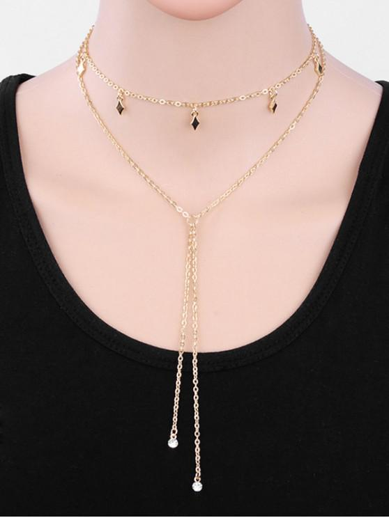 buy Geometric Layered Tassel Alloy Sweater Necklace - GOLD