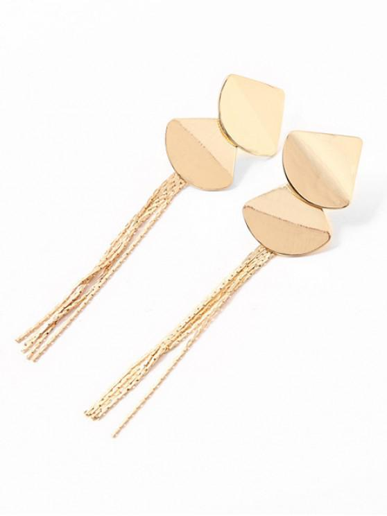 sale Fan Design Tassel Stud Drop Earrings - GOLD