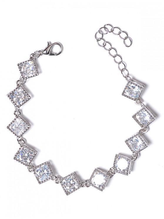 trendy Hollow Rhinestone Design Metal Bracelet - SILVER