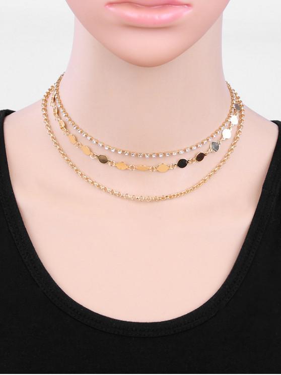 womens Layered Round Shape Rhinestone Necklace - GOLD