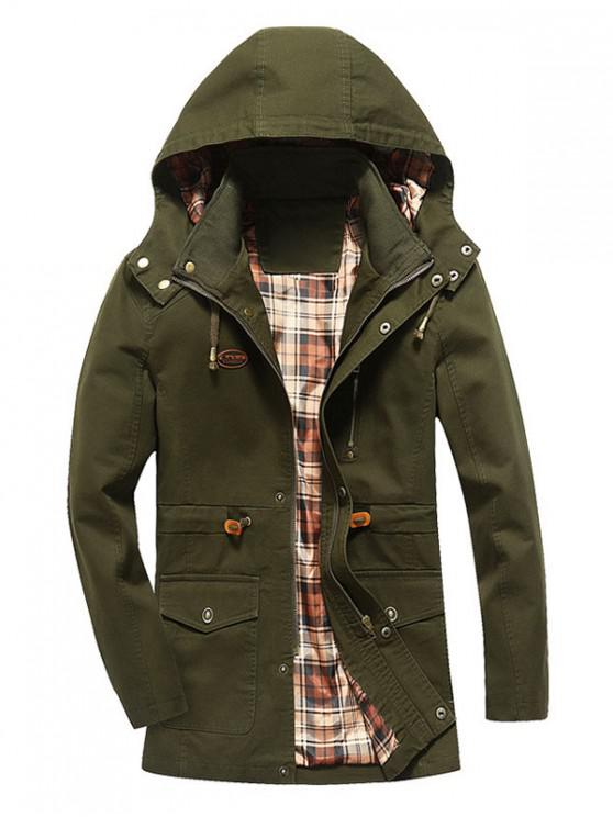 latest Faux Fur Lining Solid Thicken Jacket - ARMY GREEN S