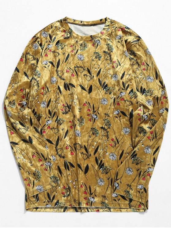 best Flowers Print Velvet Long Sleeve T-shirt - KHAKI M