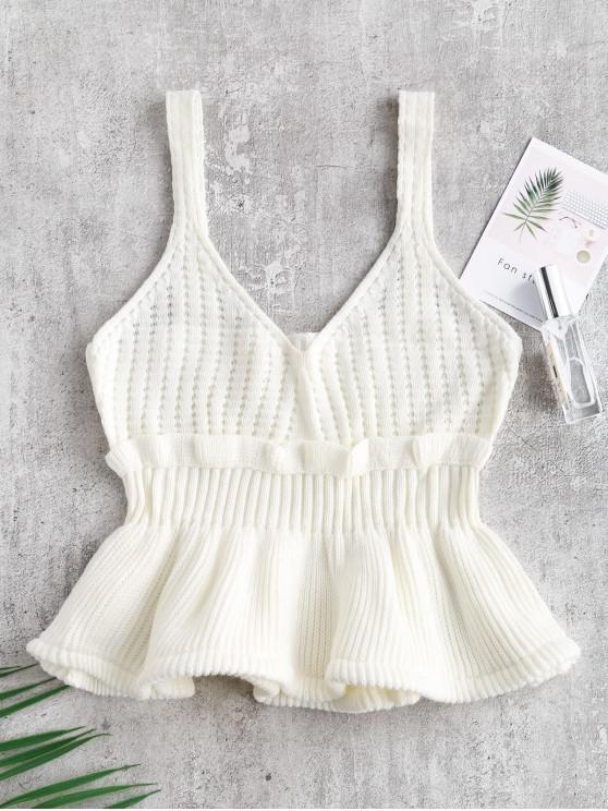 Colete de suéter com babados - Branco Um Tamanho