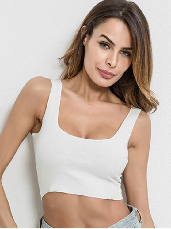 outfits U Neck Crop Tank Top - WHITE M