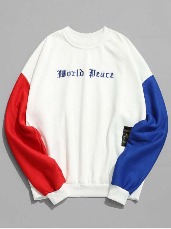 Sweat-Shirt en Molleton avec Manches en Blocs de Couleurs et Broderie - Blanc L