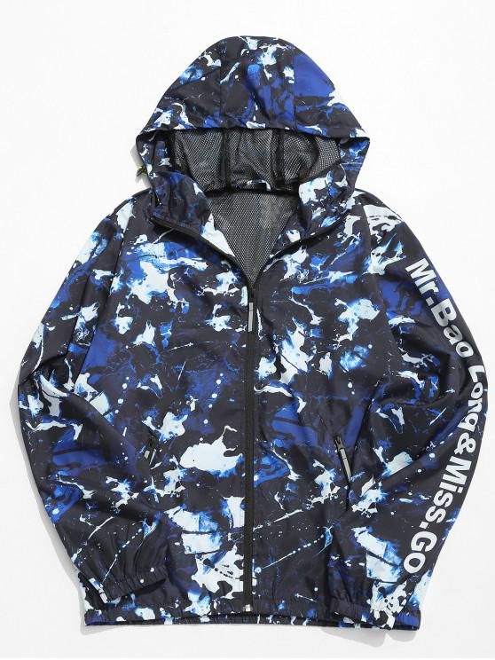 online Letter Painting Lightweight Hooded Jacket - MULTI-A XL