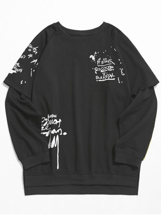 Streetwear Faux Sweat Deux Pièces - Noir XS