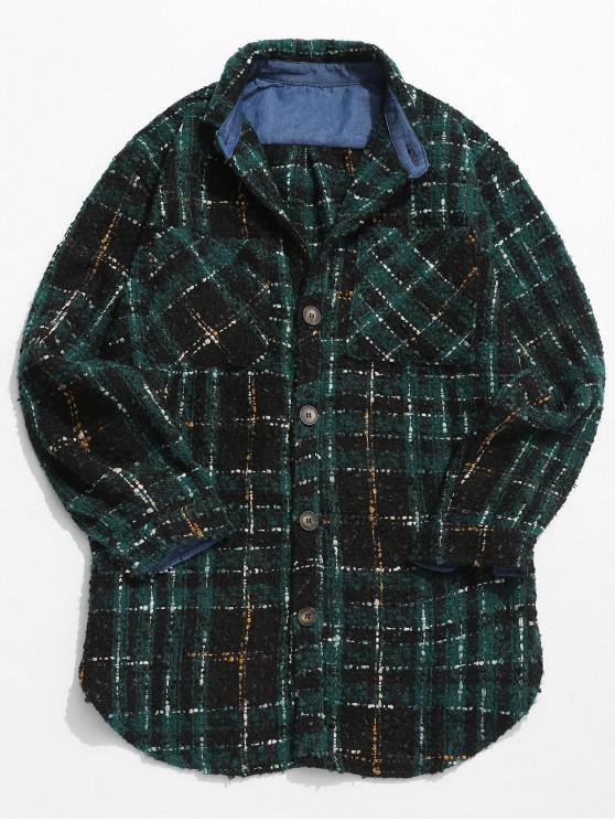 Bolsillos botón hasta chaqueta de lana a cuadros - Verde de Bosque Oscuro XL