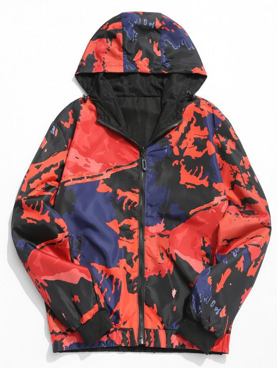shop Camouflage Print Hooded Jacket - RED XL