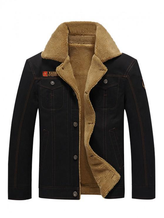 womens Button Up Appliques Plush Jacket - BLACK XL