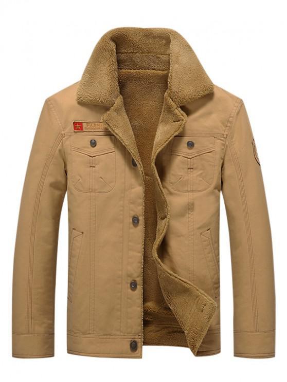buy Button Up Appliques Plush Jacket - KHAKI XL