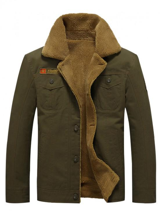 online Button Up Appliques Plush Jacket - ARMY GREEN L