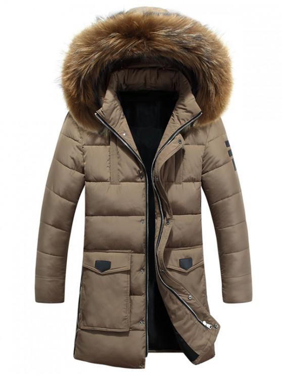 Abrigo acolchado con cremallera con capucha y cremallera desmontable de piel - Tan XS