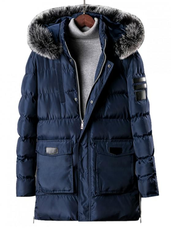 affordable Detachable Fur Hooded Zip Fly Padded Coat - LAPIS BLUE XS
