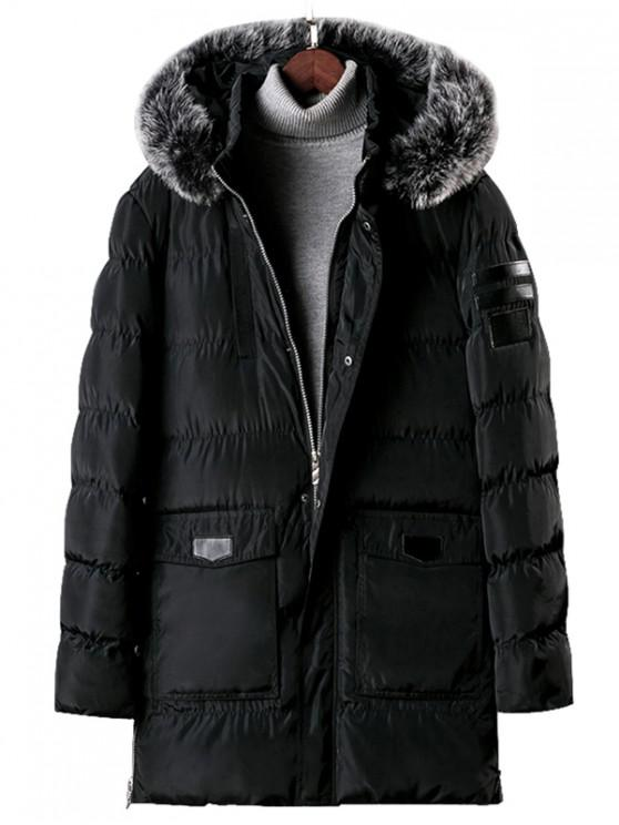 ladies Detachable Fur Hooded Zip Fly Padded Coat - BLACK M