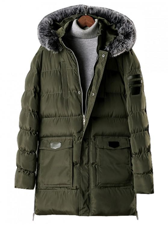 women Detachable Fur Hooded Zip Fly Padded Coat - ARMY GREEN M