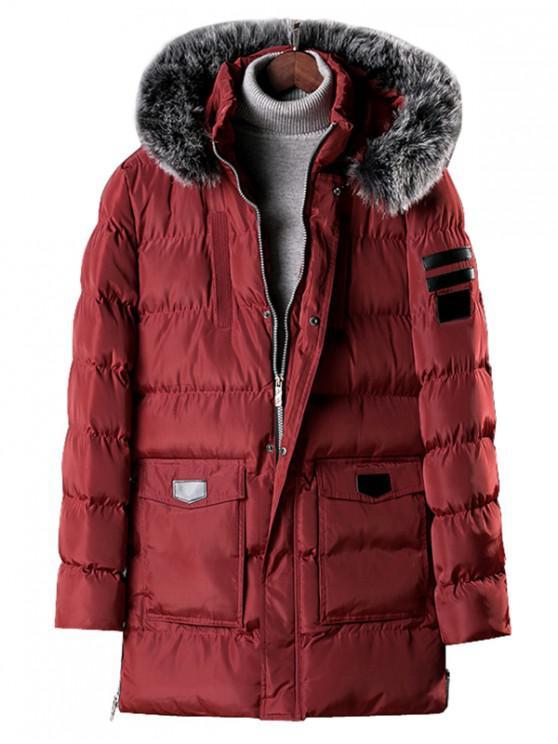 buy Detachable Fur Hooded Zip Fly Padded Coat - RED WINE XS