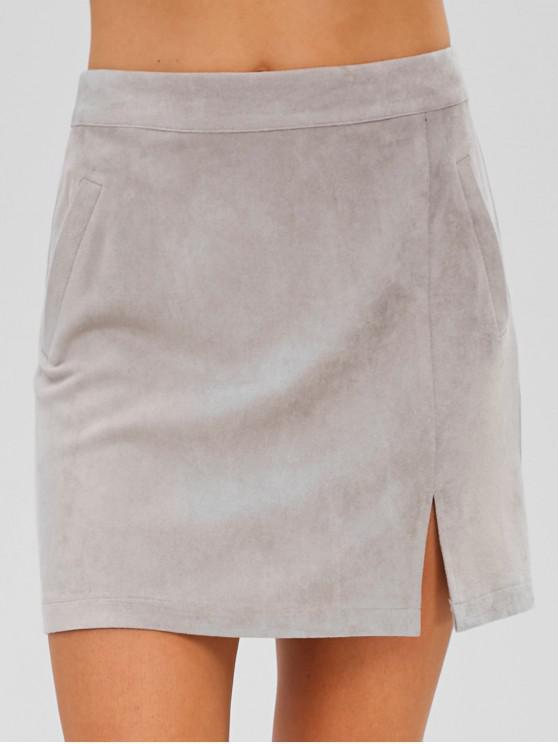 ZAFUL Faux Suede Zip Mini Skirt - Cinzento L
