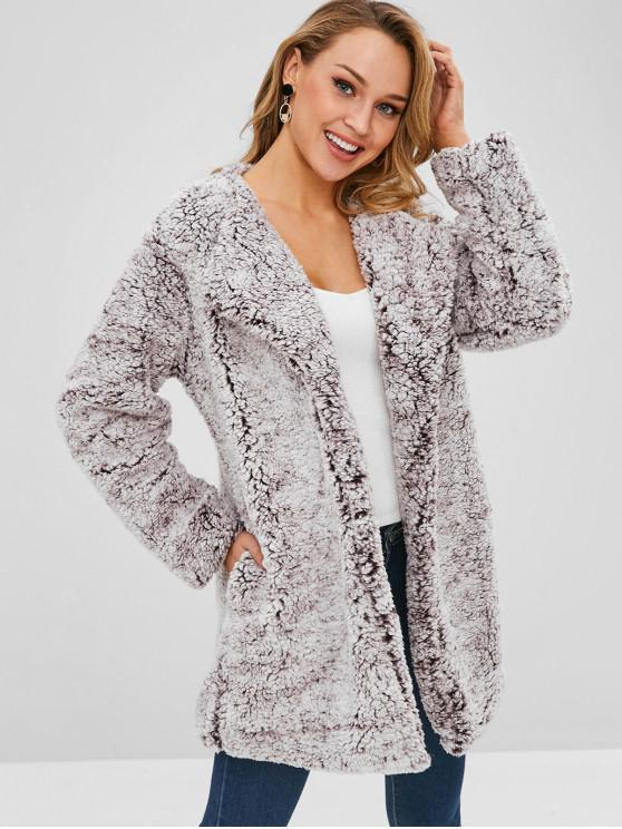 lady Open Front Loose Fluffy Coat - PUCE XL