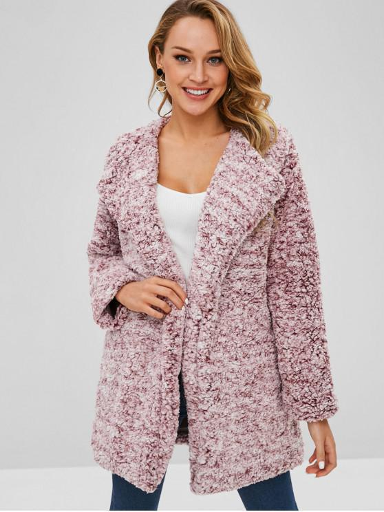 lady Open Front Loose Fluffy Coat - PINK S