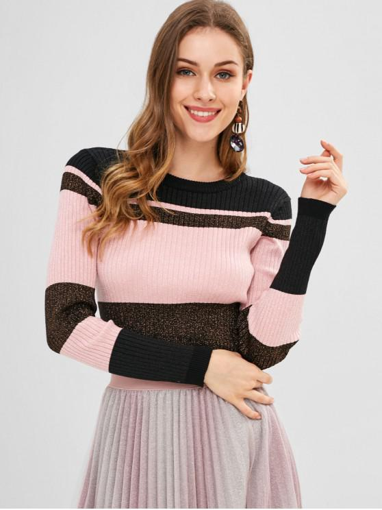 chic Color Block Fitted Ribbed Sweater - MULTI-A ONE SIZE