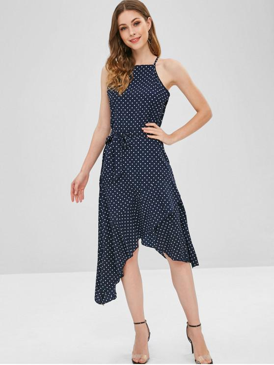 trendy Polka Dot Belted Asymmetrical Ruffle Dress - DEEP BLUE M