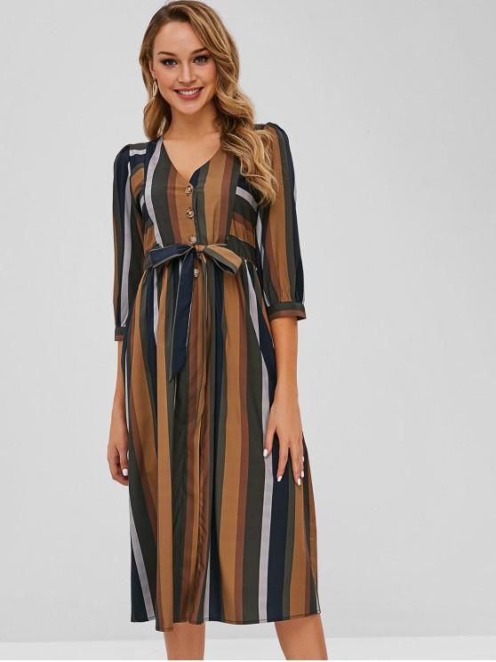 buy Button Down Striped Dress - MULTI M