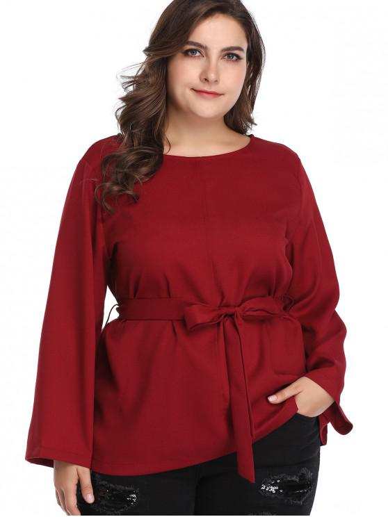 new Long Sleeve Belted Plus Size Blouse - RED WINE 4X