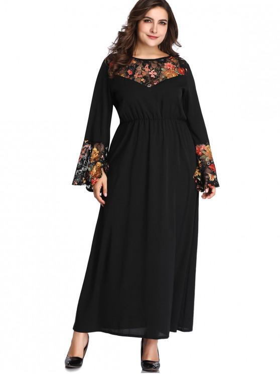 Lace Panel Floral Plus Size Maxi Dress BLACK