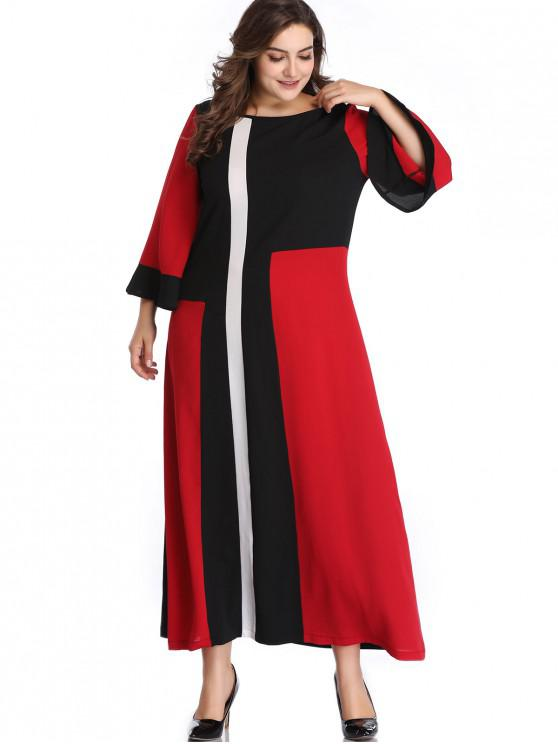 Plus Size Color Block Flare Sleeve Dress RED