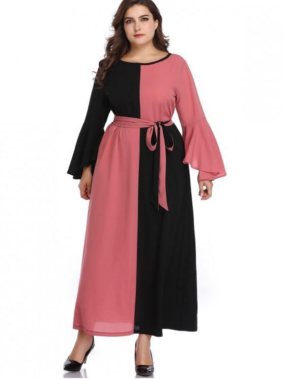 unique Two Tone Flare Sleeve Plus Size Dress - MULTI 4X