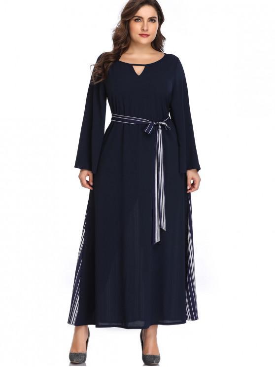 Listras Keyhole Plus Size Vestido Maxi - Azul da Meia Noite 4X