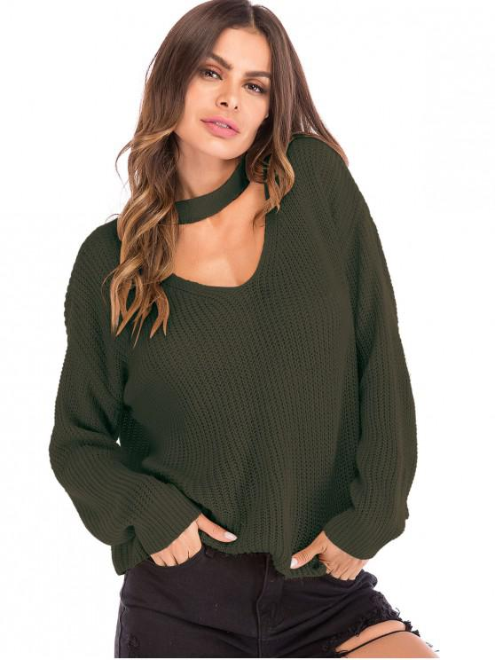unique Cut Out Choker Neck Oversized Sweater - ARMY GREEN M