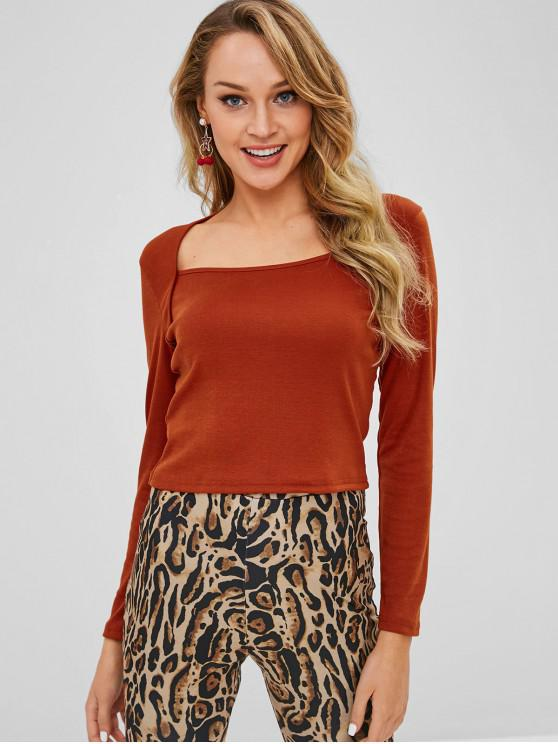 womens ZAFUL Long Sleeve Square Plain Top - LIGHT BROWN L